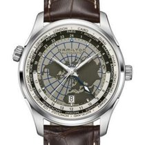 Hamilton Jazzmaster Leather Strap GMT Automatic Men's...
