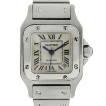 Cartier Steel Automatic Silver Roman numerals 24mm pre-owned Santos Galbée