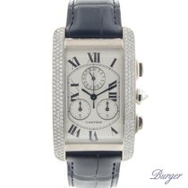 Cartier Tank Americaine Chronoflex White Gold Diamonds
