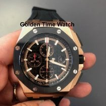 愛彼 Royal Oak Offshore Chronograph 玫瑰金 44mm 黑色 無數字