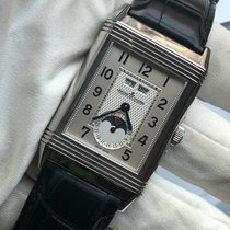Jaeger-LeCoultre Grande Reverso Calendar pre-owned 47mm Silver Moon phase Date Weekday Month Crocodile skin