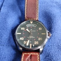 Hamilton Khaki Pilot Day Date pre-owned 42mm Black Date Weekday Leather