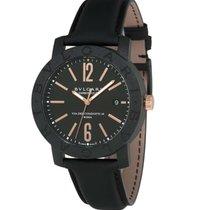 Bulgari Automatic Black Dial Carbon Gold Men's Watch