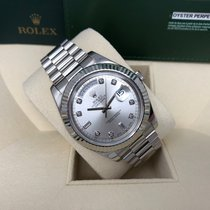 Rolex Day-Date II White gold 41mm Silver No numerals