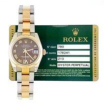Rolex Lady-Datejust Or/Acier 31mm Brun Romain