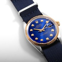 Rolex 18K/SS DATEJUST Royal Blue Diamond Dial NATO Strap 36mm