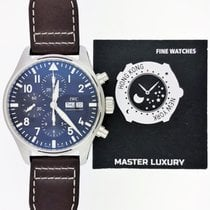 IWC IW377714, Pilot Chronograph, Blue Dial, Steel and Leather