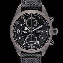 Hamilton Khaki Field Auto Chrono Black Steel/Textile 42mm -...