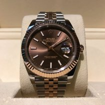 Rolex Datejust 41mm Steel and Rose Gold Jubilee Chocolate Dial...