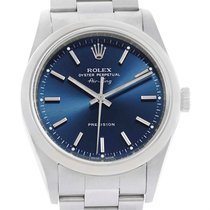 Rolex Air King Blue Baton Dial Stainless Steel Mens Watch 14000