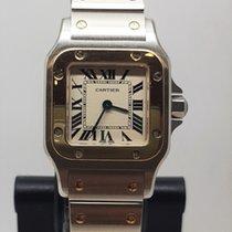 Cartier Santos Galbée Gold/Steel 24mm Silver Roman numerals