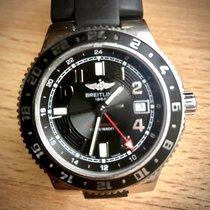 Breitling Superocean GMT Stahl 41mm Schwarz Arabisch