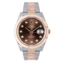 Rolex DATEJUST 41mm Steel & 18K Rose Gold Chocolate Diamond...