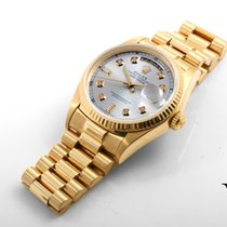 Rolex 18K YG Day-Date Custom Silver 8+2 Diamond Dial - 36mm 18038