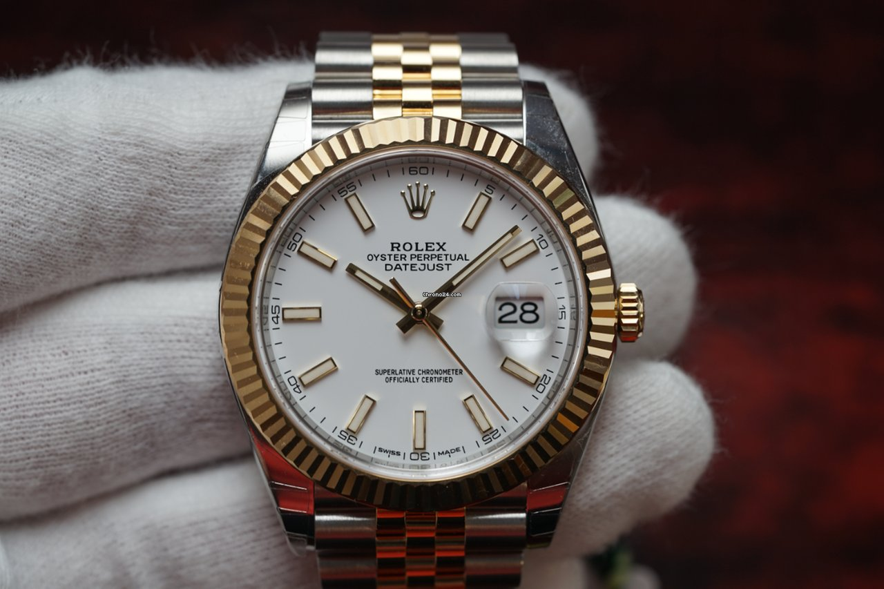 Rolex Two,Tone Datejust 41 White Dial Jubilee Bracelet 126333 NEW