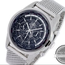 Breitling Transocean Chronograph Unitime pre-owned 46mm Black Chronograph Date Steel