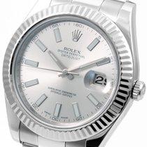 Rolex SS 41mm Datejust ll Silver Stick - 116334 Mint