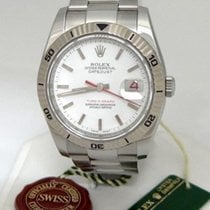 Rolex Mens Rolex Stainless Steel Datejust White Dial Turn-o-gr...