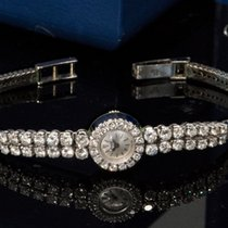 伯爵 1970s Rare 18kt WG Factory Set Double Diamond Set Line Watch