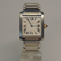 Cartier 2301 18KY GOLD/STEEL TANK FRANCAISE