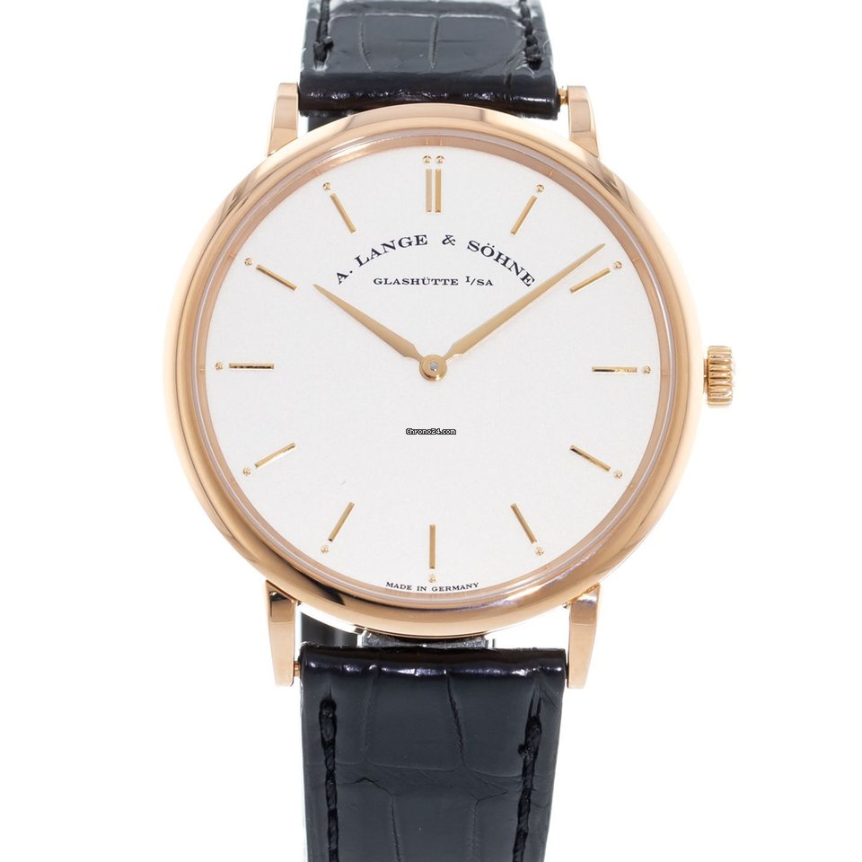 quality design 86fbc eab48 A. Lange & Söhne Saxonia Thin 211.032 Watch with Leather Bracelet and 18k  Rose Gold Bezel