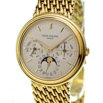 Patek Philippe Perpetual Calendar Gelbgold 36mm Silber Keine Ziffern