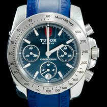 Tudor Steel Automatic Blue No numerals 41mm pre-owned Sport Chronograph