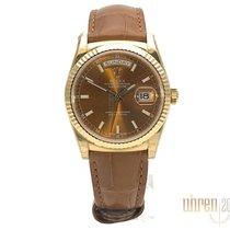 Rolex neu Automatik Zentralsekunde Leuchtzeiger Chronometer Verschraubte Krone Leuchtindizes 36mm Gelbgold Saphirglas