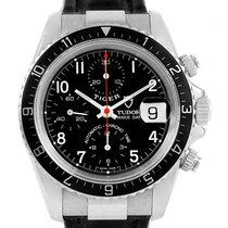 Tudor Tiger Woods Chronograph Black Dial Steel Mens Watch 79260