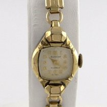 "Elmont Ladies 10k Rose Gp Steel Vintage  Manual Wind Watch 6""..."