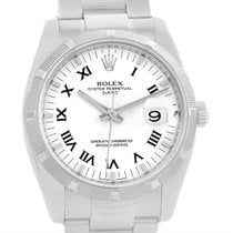 Rolex Date Steel White Roman Numeral Dial Mens Watch 115210