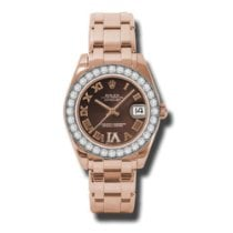 Rolex Pearlmaster Rose gold 34mm Brown Roman numerals United States of America, New York, NEW YORK