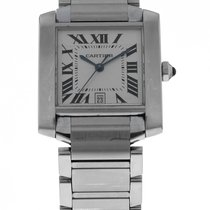 Cartier Tank Française pre-owned 34mm Silver Steel