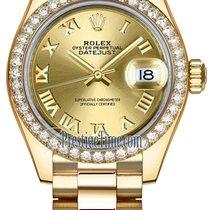 Rolex Lady Datejust 28mm Yellow Gold 279138RBR Champagne Roman...