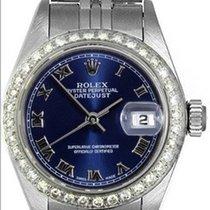 Rolex Datejust Stainless Steel Ladies Watch Blue Roman Dial 69174