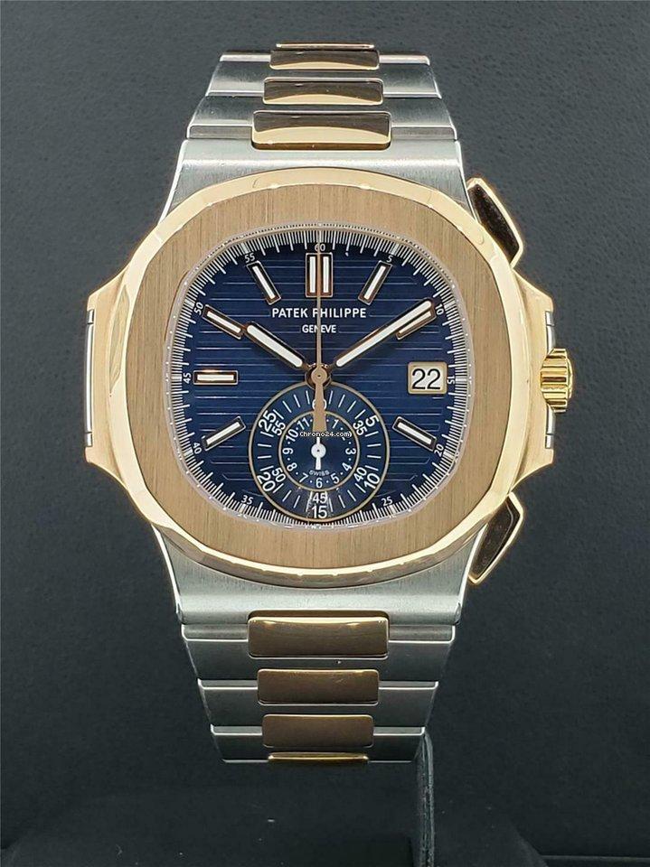 Patek Philippe Nautilus Ref 5980/1AR-001 Chrono Steel & 18k Rose Gold Blue  Dial