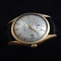 Breitling Transocean Chronograph Gelbgold 35mm Silber Schweiz, La Chaux-de-Fonds