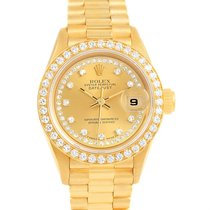 Rolex President Ladies 18k Yellow Gold String Diamond Watch 69138