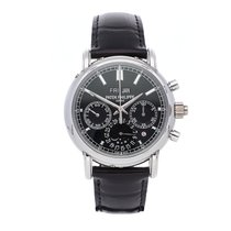 Patek Philippe Perpetual Calendar Chronograph pre-owned 40.2mm Black Moon phase Chronograph Date Month Perpetual calendar Crocodile skin