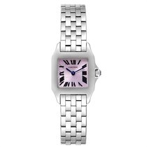 Cartier Santos Demoiselle Сталь 20mm Фиолетовый Римские