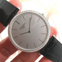 Longines 18k Solid White Gold Factory Diamond men's Watch...