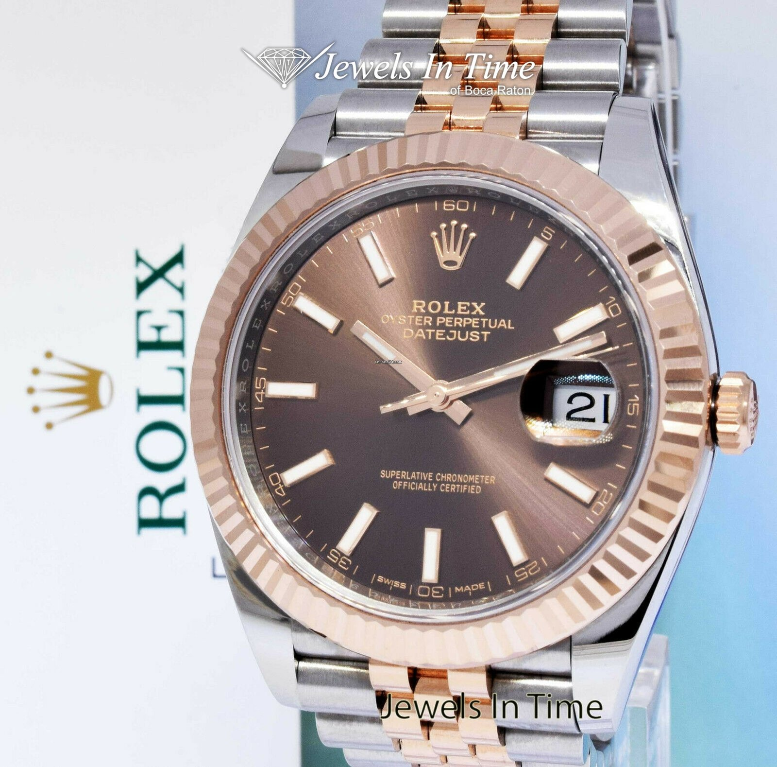 19d1cb48c0e7a Rolex Datejust 41 Chocolate Dial 18k Rose Gold Steel Watch Box/Papers 126331