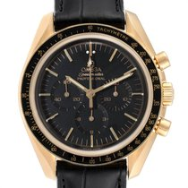 Omega Yellow gold Manual winding Black 42mm pre-owned Speedmaster Professional Moonwatch