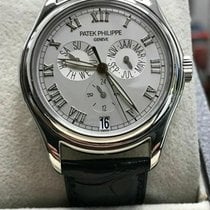Patek Philippe Platinum Automatic Silver 37mm pre-owned Annual Calendar