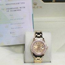 Rolex Ladies Diamond Pearlmaster Masterpiece 80298 18k Y Gold...