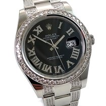 Rolex Datejust II Diamonds Black Roman Diamond Dial + Strap