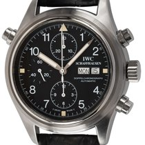 IWC Pilot Double Chronograph pre-owned 42mm Black Chronograph Date Weekday Leather