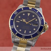 Rolex Submariner Date Zlato/Zeljezo 40mm Plav-modar