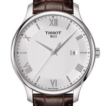 Tissot T0636101603800 Tradition Silver Dial Brown Leather...