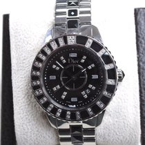 Dior Christal Cd113115m001 Ss Watch w/ Diamonds & Black...